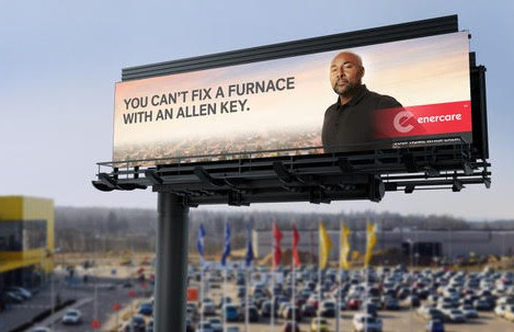Cleverly placed next to Ikea, this outdoor campaign for Enercare reminds you that, unlike furniture, DIY furnace repair is not a thing.