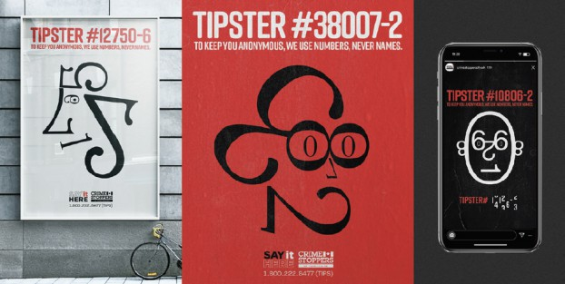 """To overcome tipsters' fears of being outed, this integrated campaign for Crime Stoppers leveraged our """"universal language of numbers"""". Each ad featured a 'Tipster ID Number' which animated into a 'face' created from the same ID numbers. People got it. Instantly. The 'Always a Number' anonymity campaign was a multicultural breakthrough."""