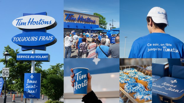 """Tim Hortons asked TFS to reconnect with the Quebec market, and what better way to celebrate Quebec culture than wishing Québécois a """"Bonne St-Jean"""" with the """"Je Tim en bleu"""" concept. Guests at one Tim Hortons restaurant were surprised on June 24th when everythings had been changed from red to blue, recreating a typical St-Jean party outside."""