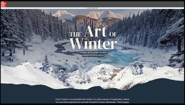 In addition designing a print feature, Globe Content Studio created a micro-site for Tourism Alberta's 'Art of Winter' campaign, housing the 10 original artworks curated to inspire thoughts of travel, so users could explore the different pieces as if in a physical art gallery.