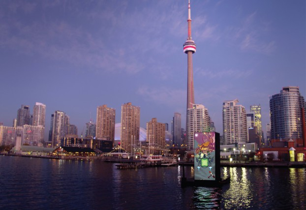 To launch the Xbox Series X, a four-storey gaming console replica was floated in Toronto harbour, displaying an edge-to-edge LED screen showcasing local artists' work inspired by the 'Power Your Dreams' launch theme.
