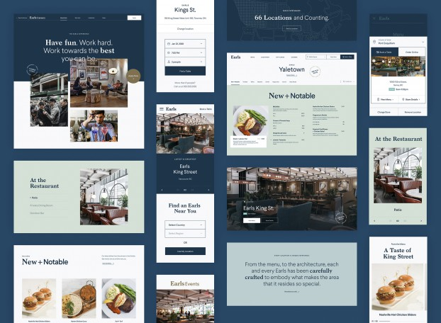 Earls, a thriving brand with 65 locations across North America, engaged Thinkingbox to redesign its website. Each Earl's menu is location specific, combining classic fare with local faves, so the challenge entailed designing a platform to encompass all the seasonal and ever-changing menu variations.